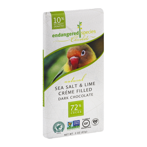 Endangered Species Chocolate Sea Salt & Lime Creme Filled Dark Chocolate 72% Cocoa