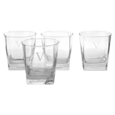Cathy's Concepts Personalized Monogram Whiskey Glass Set of 4 - V