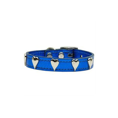 Mirage Pet Products 83-14 14BLM Metallic Heart Leather Blue MTL 14