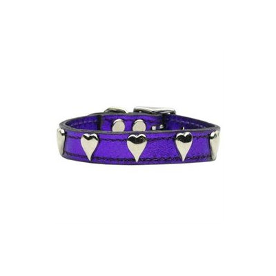 Mirage Pet Products 83-14 16PrM Metallic Heart Leather Purple MTL 16