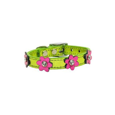 Mirage Pet Products 83-08 10Lmgm-Pkm Flower Leather Metallic Lime Green With Metallic Pink Flowers 10