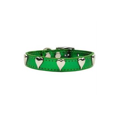 Mirage Pet Products 83-14 16EGM Metallic Heart Leather Emerald Green MTL 16
