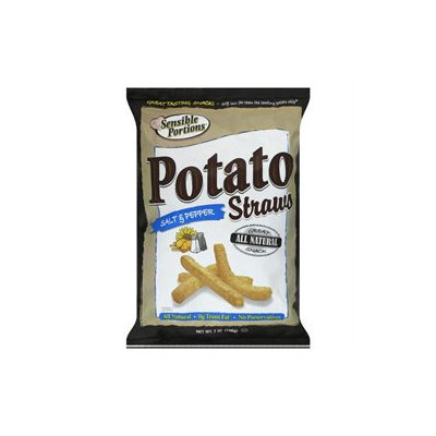 Sensible Portions Salt and Pepper Straws Potato Chips, 7 oz, - Pack of 12