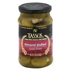 Tassos Almond-Stuffed Evian Olives - 6 Jars (13.1 oz ea)