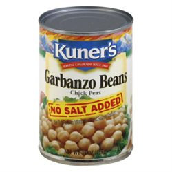 KeHe Distributors 78535 KUNERS BEAN GARBANZO NO SALT - Case of 12 - 15 OZ