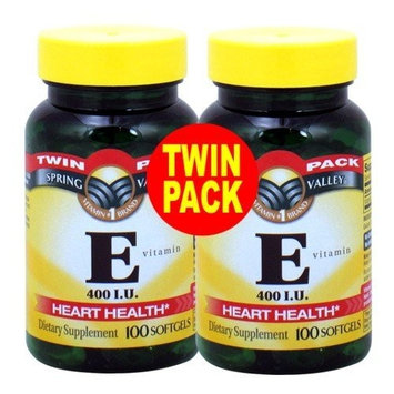 Spring Valley - Vitamin E 400 IU, 200 Softgels, Twin Pack