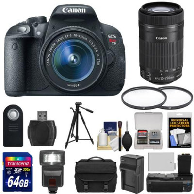 Canon EOS Rebel T5i Digital SLR Camera & EF-S 18-55mm & 55-250mm IS STM Lens with 64GB Card + Battery + Case + Flash + Grip + Tripod Kit