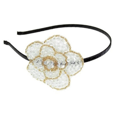 RIVIERA, A STYLEMARK CO Women's Riviera Rose Headband with Crystals - White/Gold