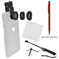 Zuma 3-in-1 Clip-on Fisheye Macro & .67x Wide-Angle Lens Set for Smartphones & Tablets with Selfie Stick + Stylus Pen + Cleaning Cloth + Kit