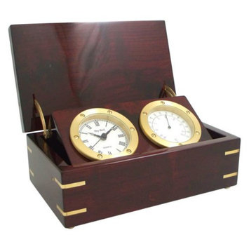 Bey-Berk International Rosewood Desk Clock with Thermometer
