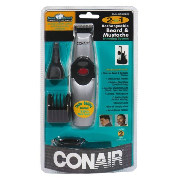 Conair 2-in-1 Beard & Mustache Trimming System, Rechargeable, 1 trimmer