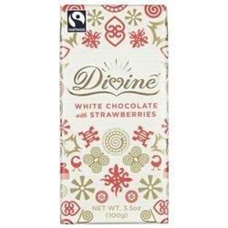 Divine Chocolate White Chocolate with Strawberries 3.5 oz