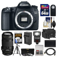 Canon EOS 70D Digital SLR Camera Body with EF 70-300mm IS Lens + 64GB Card + Case + Flash + Battery/Charger + Tripod + Kit