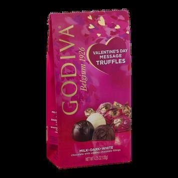 Godiva Valentine's Day Message Truffles Milk, Dark, White