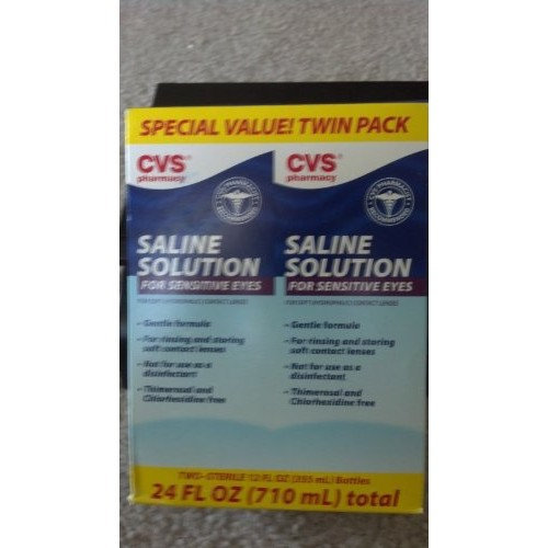 Cvs Saline Solution For Sensitive Eyes Twin Pack 24fl Oz 710ml