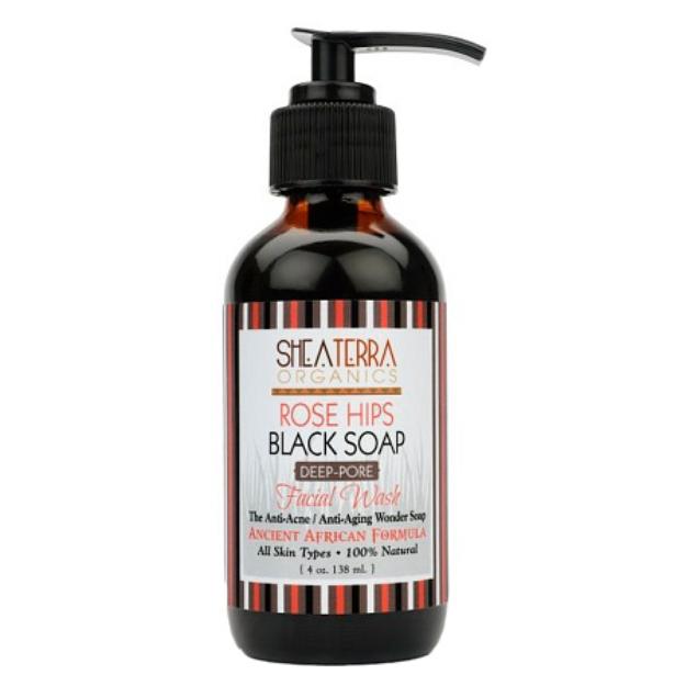 Shea Terra Organics Rose Hips Black Soap Deep Pore Facial Cleanser