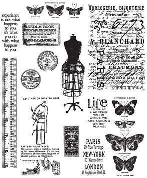 Paradise Eximport, Inc. Tim Holtz Cling Rubber Stamp Set, Attic Treasures