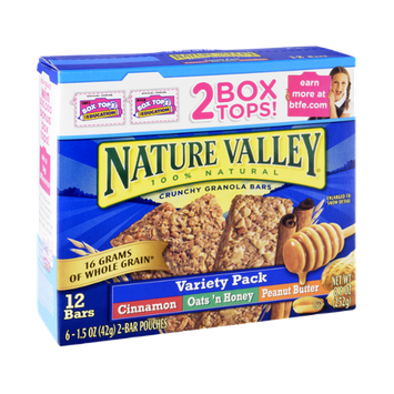 Nature Valley 100% Natural Crunchy Granola Bars Variety Pack - Cinnamon, Oats 'n Honey and Peanut Butter