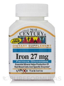 21st Century Healthcare Iron 27 mg ( Ferrous Gluconate ) 110 Tablets, 21st Century Health Care