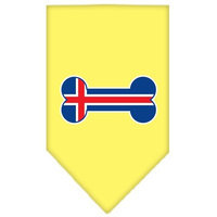 Mirage Pet Products 6616 LGYW Bone Flag Iceland Screen Print Bandana Yellow Large
