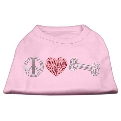Mirage Pet Products 5262 SMLPK Peace Love and Bone Rhinestone Shirt Light Pink S 10