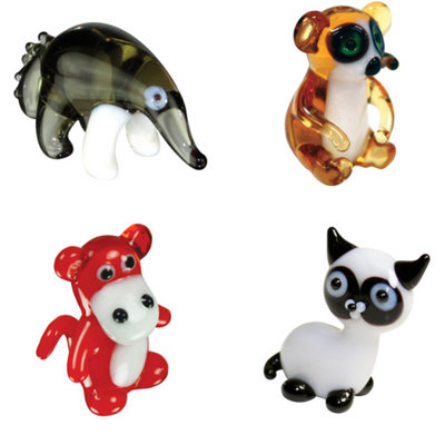 BrainStorm Looking Glass Miniature Glass Figurines, 4-Pack, Ant Eater/Lemur/Baboon/Siamese Cat