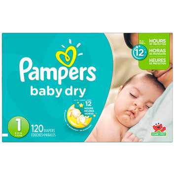 Babies R Us Pampers Diapers Baby Dry Size 1 Super 120 count