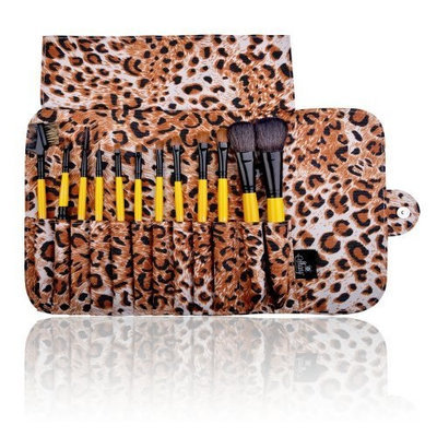 SHANY Cosmetics Urban Gal Collection Brush Set (12 Piece Natural Cosmetics Brushes with Leopard Magnetic Pouch), 13 Ounce