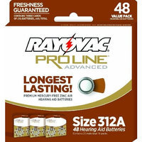Rayovac Mercury Free Proline Advanced Size 312 Hearing Aid Batteries, Total of 48 Batteries