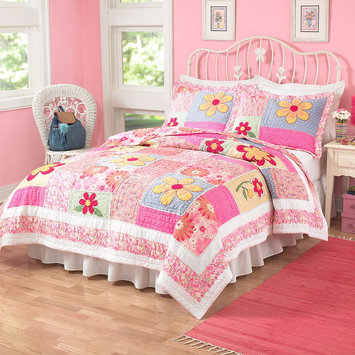PEM America Olivia Pink Quilt Set in Floral Prints-Full