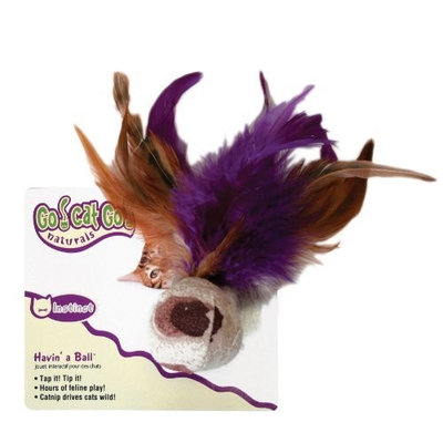 Go! Cat Go OurPets Cat Ball with Feathers Natural Catnip Cat Toy
