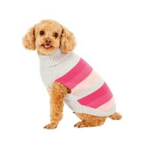 Fashion Pet Pink Best in Stripe Dog Sweater, Medium