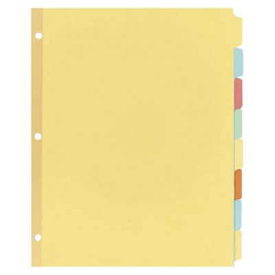 Avery 11 x 8-1/2 Write-On Plain Tab Dividers, Eight Multicolor Tabs-