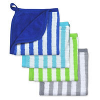 green sprouts by i play 4-Pack Organic Muslin Washcloths in Blue/Aqua/Green/Grey