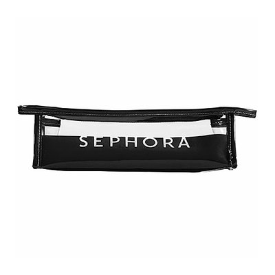 SEPHORA COLLECTION Signature Clear Cosmetic Bags Signature Clear Pencil Case 9.25 x 2.75 x 2.5