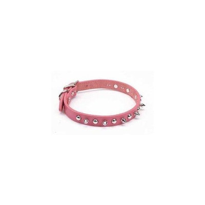 Coastal Pet Products DCP1705K16PK Leather Circle T Oak Tanned Embellished and Spiked Dog Collar, 16 by 5/8-Inch, Pink