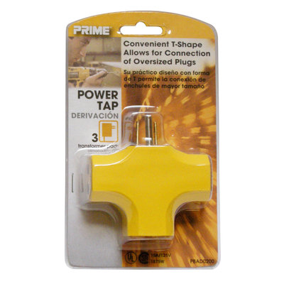 Prime Wire PBAD0200 90 Inch 3-Outlet Adapter, Yellow