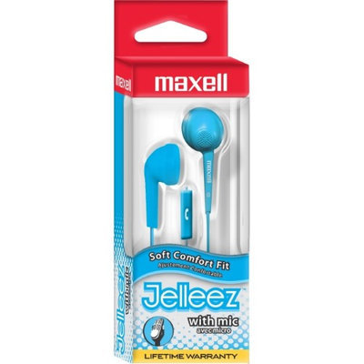 Maxell Jelleez Earset - Stereo - Blue - Wired - 32 Ohm - 20 Hz - 22 kHz - Earbud - Binaural - In-ear - 3 ft Cable