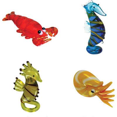 BrainStorm Looking Glass Miniature Glass Figurines, 4-Pack, Lenny Lobster/Morris Seahorse/Sally Seahorse/Nate Nautilus