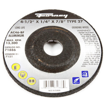 Forney 71886 Grinding Wheel with 7/8-Inch Arbor Aluminum Type 27 AC46-BF 4-1/2-Inch-by-1/4-Inch