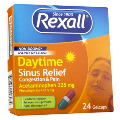 Rexall Rapid Release Daytime Sinus Relief Congestion and Pain, 24 ct