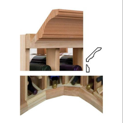 Wine Cellar Innovations Curved Corner Moulding w OG Base & Crown (Prime Mahogany - Light Stain)