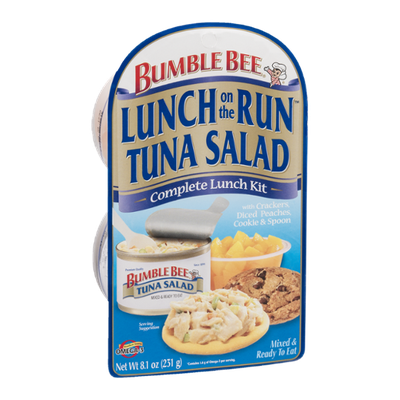 Bumble Bee Lunch on the Run Complete Lunch Kit Tuna Salad with Crackers, Diced Peaches, Cookie & Spoon