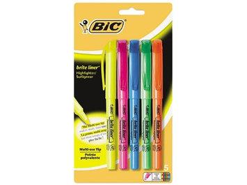 BIC Brite Liner Highlighter, Chisel Tip, Fluorescent, 5/Set
