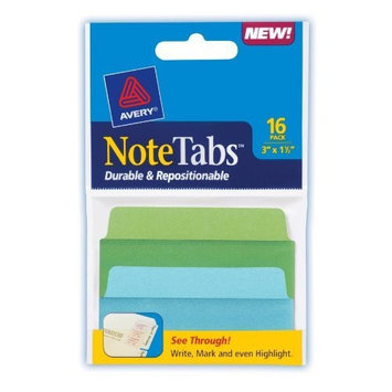Avery Small NoteTabs, 3 x 1.5 Inches, Pack of 16 (16318)