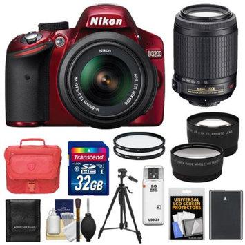 Nikon D3200 Digital SLR Camera & 18-55mm G VR DX AF-S Zoom Lens (Red) with 55-200mm VR Lens + 32GB Card + Case + Battery + Tripod + Filters + Tele/Wide-Angle Lenses Kit