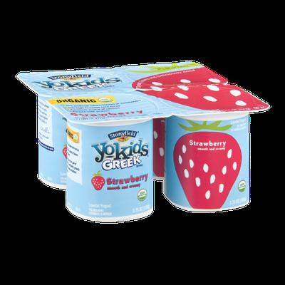 Stoneyfield Organic Yo Kids Greek Style Smooth & Creamy Strawberry - 4 CT
