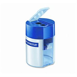 Staedtler Handheld Double Hole Cylinder Pencil Sharpener, Blue/Silver. Each
