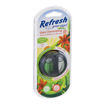 Refresh Your Car! Odor Eliminating Dual-Scented Oil Diffuser Sun-Kissed Linen/Tiger Lily