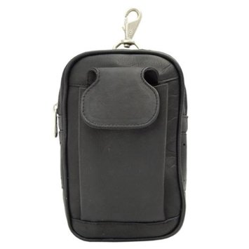 Piel Leather Carry-All Golf Case w Cellphone Pocket in Black